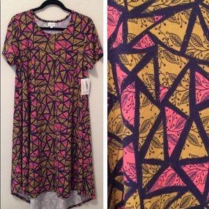 LuLaRoe Carly Dress Medium NWT Pink Mustard Navy
